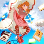 1girl bad_id bad_pixiv_id controller crown dress elbow_gloves famicom famicom_cartridge famicom_disk famicom_gamepad floppy_disk full_body game_cartridge game_console game_controller gamepad gloves mario_(series) mary_janes masao orange_hair parachute pink_dress pink_legwear princess_peach red_legwear shoes solo striped striped_legwear super_mario_bros. thighhighs umbrella umbrella_riding