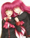 brown_eyes clock_(clockart) closed_eyes futaki_kanata happy_birthday little_busters! long_hair one_eye_closed saigusa_haruka school_uniform siblings sisters twins