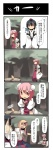 4girls 4koma bandages bird black_hair blonde_hair bun_cover comic cuffs detached_sleeves double_bun flower fuukadia_(narcolepsy) hat horn hoshiguma_yuugi ibaraki_kasen japanese_clothes konngara kourindou_tengu_costume long_hair multiple_girls pink_eyes pink_hair red_eyes rose shackles shameimaru_aya star tokin_hat touhou touhou_(pc-98) translated