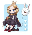 0yui 1girl abigail_williams_(fate/grand_order) bangs black_bow black_jacket blonde_hair blue_background blue_eyes blush bow chibi closed_mouth commentary_request crossed_bandaids fate/grand_order fate_(series) fou_(fate/grand_order) full_body hair_bow hair_bun heroic_spirit_traveling_outfit highres holding_balloon jacket long_hair long_sleeves looking_at_viewer multiple_hair_bows object_hug orange_bow parted_bangs polka_dot polka_dot_bow red_bow red_footwear shoes sleeves_past_fingers sleeves_past_wrists solo star stuffed_animal stuffed_toy teddy_bear tentacles two-tone_background white_background
