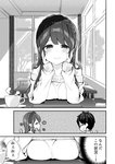 1boy 1girl ^_^ bangs bare_shoulders blush braid breast_rest breasts chair chikuwa. closed_eyes closed_mouth collarbone collared_shirt comic commentary_request crown_braid cup day earrings eyebrows_visible_through_hair glasses greyscale half-closed_eyes hand_on_own_face hands_up indoors jewelry long_hair long_sleeves looking_at_viewer medium_breasts monochrome off-shoulder_sweater off_shoulder original parted_lips pov_across_table profile saucer shirt sleeves_past_wrists smile steam sweat sweater table translated tree window