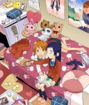2girls animal_print animal_slippers bag barefoot bed blue_bow bow brown_eyes brown_hair bunny_print calendar_(object) chips eating food from_above futari_wa_precure glass hair_ornament hairclip head_rest indoors lacrosse long_hair long_sleeves lying magazine minakata_sunao misumi_nagisa mouth_hold multiple_girls navy_blue_legwear on_bed photo_(object) poster_(object) precure purple_hair room school_bag short_hair sitting slippers socks socks_removed stuffed_animal stuffed_bunny stuffed_raccoon stuffed_toy tissue_box yukishiro_honoka