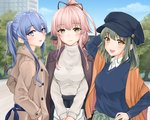 3girls :d alternate_costume alternate_hairstyle bangs beige_coat blue_eyes blue_hair blue_headwear blue_sky blue_sweater blush breasts brown_eyes casual cloud coat collared_shirt commentary_request cowboy_shot day earrings eyebrows_visible_through_hair gotland_(kantai_collection) green_eyes green_hair hair_between_eyes hair_flaps hair_ornament hair_ribbon highres holding_purse hoop_earrings jacket jacket_on_shoulders jewelry kantai_collection long_hair long_sleeves looking_at_viewer medium_breasts mole mole_under_eye multiple_girls open_clothes open_coat open_mouth outdoors pink_hair ponytail purple_jacket ribbon shirt short_hair sidelocks skirt sky smile sweater tareme turtleneck umino_haruka_(harukaumino6) very_long_hair white_shirt yura_(kantai_collection) yuubari_(kantai_collection)