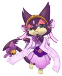 bell caesar_(4chan) clothed_pokemon furry gem gen_5_pokemon green_eyes headband japanese_clothes jingle_bell looking_at_viewer no_humans pink_skirt pokemon purrloin skirt solo standing wide_sleeves