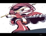 1girl bare_back black_ribbon boots commentary_request detached_sleeves gloves hair_ribbon knee_boots letterboxed long_hair mahou_shoujo_madoka_magica one_knee oono_tsutomu polearm ponytail purple_hair red_eyes ribbon sakura_kyouko solo spear thighhighs thighs weapon white_background white_gloves