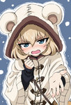1girl animal_hood bangs black_sweater blush commentary embarrassed eyebrows_visible_through_hair fang girls_und_panzer highres hood katyusha long_sleeves looking_at_viewer offering_hand poty_(misaman339) reaching_out short_hair snow solo standing sweater upper_body wavy_mouth white_coat