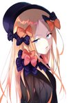 1girl abigail_williams_(fate/grand_order) absurdres bangs black_bow black_headwear blonde_hair blue_eyes bow fate/grand_order fate_(series) from_side hair_bow hat highres long_hair looking_at_viewer multiple_hair_bows nao_(okt8538) open_mouth orange_bow parted_bangs polka_dot polka_dot_bow shiny shiny_hair simple_background solo upper_body white_background