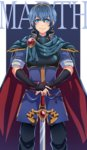 1boy armor blue_eyes blue_hair cape character_name falchion_(fire_emblem) fire_emblem fire_emblem:_monshou_no_nazo gloves looking_at_viewer male_focus marth nagi_(marthmoka) smile solo sword tiara weapon