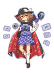 1girl absurdres ball book brown_eyes brown_hair cape card clothes_writing full_body glasses hat hat_ribbon highres hizuki_kokoro kneehighs light_smile loafers long_sleeves looking_at_viewer object_namesake occult_ball outline pleated_skirt red-framed_eyewear ribbon runes semi-rimless_glasses shoes short_hair simple_background skirt skirt_set skull solo touhou under-rim_glasses usami_sumireko violet_(flower) white_background zener_card