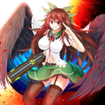 1girl >:) arm_cannon bird_wings black_legwear black_wings bow breasts brown_hair cowboy_shot damao_yu dress_shirt feathered_wings frilled_shirt_collar frills garter_straps green_bow green_skirt grin hair_bow highres large_breasts long_hair looking_at_viewer miniskirt navel puffy_short_sleeves puffy_sleeves radiation_symbol red_eyes reiuji_utsuho salute shirt short_sleeves sidelocks skirt smile solo thighhighs third_eye touhou two-finger_salute very_long_hair weapon white_shirt wings