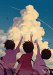 3boys arm_up black_hair blue_sky bottle bug child cloud commentary_request condensation_trail from_behind holding holding_bottle hood hood_down insect jacket ladybug leaf male_focus multiple_boys noeyebrow_(mauve) open_clothes open_jacket original outdoors ramune red_shirt shirt short_sleeves signature sky summer white_jacket white_shirt wind
