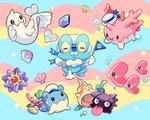 bubble coral corsola dewgong flag hat luvdisc multicolored multicolored_background no_humans pokemon pokemon_(creature) sailor_hat seashell seaweed shell shellder spheal staryu welchino