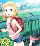1girl :d backpack bag blonde_hair blue_eyes blue_shorts breasts cleavage crime_prevention_buzzer day flower hair_ornament highres kokekokko_coma looking_at_viewer new_game! no_socks open_mouth outdoors pink_footwear pink_shirt randoseru river running sakura_nene shirt shoes short_shorts shorts sleeveless sleeveless_shirt small_breasts smile sneakers solo yellow_flower