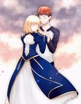 1boy 1girl ahoge artoria_pendragon_(all) black_sleeves blonde_hair brown_hair closed_eyes closed_mouth cloud cloudy_sky couple dress emiya_shirou fate/stay_night fate_(series) holding_hands interlocked_fingers long_dress long_sleeves saber shirt short_hair sky smile standing suzuakks white_shirt