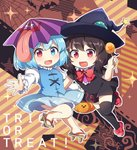2girls :d bangs basket bat black_dress black_hair black_hat black_legwear blue_eyes blue_hair blue_skirt blue_vest blush bow bowtie breasts brown_background brown_footwear candy caramell0501 center_frills chibi commentary_request dress eyebrows_visible_through_hair food geta halloween hand_up hat heterochromia holding holding_basket holding_food houjuu_nue juliet_sleeves leg_up lollipop long_sleeves medium_breasts multiple_girls open_mouth outline puffy_sleeves purple_umbrella red_bow red_eyes red_footwear red_neckwear shirt shoes short_dress short_hair short_sleeves silk skirt skirt_set smile spider_web star striped tatara_kogasa thighhighs thighs tongue tongue_out touhou trick_or_treat ufo vest white_outline white_shirt witch_hat zettai_ryouiki