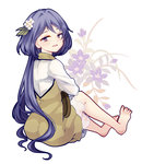 1girl barefoot blue_hair floral_background flower from_behind hair_flower hair_ornament highres knees_up layered_dress looking_at_viewer looking_back open_mouth ponytail purple_eyes see-through short_hair sitting solo toenails touhou tsukumo_benben uranaishi_(miraura) violet_(flower) white_background
