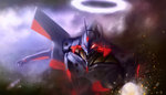 bita_(vaderc) eva_01 glowing glowing_eye halo highres neon_genesis_evangelion no_humans open_mouth