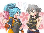 1boy 1girl :d alternate_hairstyle armor blue_hair cherry_blossoms commentary_request cosplay costume_switch covering covering_chest fire_emblem fire_emblem_if hair_over_one_eye hinata_(fire_emblem_if) hinata_(fire_emblem_if)_(cosplay) japanese_clothes ki_(mona) kimono lazward_(fire_emblem_if) long_hair multicolored_hair oboro_(fire_emblem_if) oboro_(fire_emblem_if)_(cosplay) open_mouth pieri_(fire_emblem_if) pink_hair ponytail smile translation_request