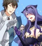armor black_armor breasts brown_hair camilla_(fire_emblem_if) female_my_unit_(fire_emblem_if) fire_emblem fire_emblem:_kakusei fire_emblem_if fire_emblem_musou frederik_(fire_emblem) hair_over_one_eye large_breasts long_hair mejiro my_unit_(fire_emblem_if) open_mouth purple_eyes purple_hair short_hair smile very_long_hair wavy_hair