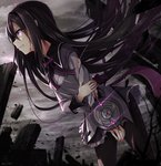 1girl akemi_homura black_hair black_legwear blood blood_on_face blood_on_fingers bow clenched_teeth cloud cloudy_sky cuts debris dystopia frilled_skirt frills hair_over_face hairband highres holding_arm injury leaning_forward long_hair long_sleeves looking_to_the_side mahou_shoujo_madoka_magica nikkunemu pantyhose purple_bow purple_eyes scowl skirt sky solo standing torn_clothes torn_pantyhose very_long_hair