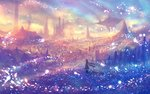 1girl commentary_request fantasy field floating_hair floating_island from_side landscape long_hair low-tied_long_hair magic multicolored multicolored_sky original sakimori_(hououbds) scenery sky solo tower