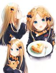 1girl abigail_williams_(fate/grand_order) bangs belt black_bow black_dress black_jacket blonde_hair blue_eyes blush bow closed_mouth commentary_request dress eating fate/grand_order fate_(series) food forehead hair_bow happiness_lilys heroic_spirit_traveling_outfit high_collar holding holding_stuffed_animal jacket long_hair long_sleeves looking_at_viewer multiple_views no_hat no_headwear object_hug open_mouth orange_bow parted_bangs plate simple_background sleeves_past_fingers sleeves_past_wrists stuffed_animal stuffed_toy teddy_bear white_background