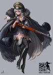 1girl black_choker black_footwear blazer blue_hair bolt_action boots breasts choker cleavage closed_mouth copyright_name cross-laced_footwear cross_choker english eyebrows_visible_through_hair full_body fur girls_frontline gold_trim grey_background gun hair_between_eyes high_heel_boots high_heels holding holding_gun holding_weapon iron_cross jacket jacket_on_shoulders kar98k_(girls_frontline) lace-up_boots lion_(dielion) logo long_hair looking_away mauser_98 medium_breasts red_eyes rifle shell_casing skirt smoke solo thigh_boots thighhighs very_long_hair weapon white_skirt zettai_ryouiki