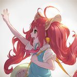 1girl ahoge animal_ears artist_name bell blush character_request copyright_request eyebrows_visible_through_hair green_eyes highres long_hair open_mouth pink_hair smile solo takami_masahiro teeth twintails twitter_username upper_body