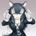 1girl :d animal_ear_fluff animal_ears arms_up asutora bangs black_hair black_jacket blazer blue_eyes blush breasts claw_pose commentary_request eyebrows_visible_through_hair fang fur_collar gloves gradient gradient_background grey_background grey_neckwear grey_wolf_(kemono_friends) hair_between_eyes heterochromia jacket kemono_friends large_breasts long_hair looking_at_viewer multicolored_hair necktie open_mouth silver_hair smile solo streaked_hair tail upper_body v-shaped_eyebrows white_gloves wolf_ears wolf_tail yellow_eyes
