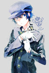 1girl adjusting_clothes adjusting_gloves androgynous blue_eyes blue_hair cabbie_hat chibi_inset gloves hat kuma_(persona_4) matomaranai2143 persona persona_4 reverse_trap school_uniform shirogane_naoto short_hair solo