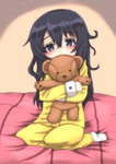 1girl :3 absurdres akatsuki_(kantai_collection) alternate_costume black_eyes black_hair covering_mouth hair_between_eyes highres kantai_collection long_hair long_sleeves nabeo object_hug pajamas seiza sitting solo stuffed_animal stuffed_toy teddy_bear
