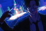 1boy black_hair blue_background blue_sky blue_theme building cigarette commentary_request formal glasses hypnosis_mic male_focus necktie outdoors owo_hpm sketch sky solo suit