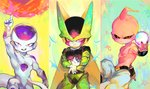 3boys akame_(chokydaum) arm_at_side attacking_viewer aura blue_background cell_(dragon_ball) chibi cupping_hands dragon_ball dragon_ball_z energy_ball evil_grin evil_smile fingernails floating frieza gradient gradient_background green_background grin index_finger_raised looking_at_viewer majin_buu male_focus multicolored multicolored_background multiple_boys outstretched_arm panels pants perfect_cell pink_background pink_eyes puffy_pants red_eyes smile standing star starry_background tail teeth upper_body white_background white_pants yellow_background