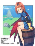 1girl anniversary barbara bare_legs barefoot barrel blue_dress blue_sky breasts cape closed_mouth cloud day dragon_quest dragon_quest_vi dress earrings gloves high_ponytail highres jewelry large_breasts light_rays looking_at_viewer mahito medium_hair orange_hair ponytail purple_eyes red_cape short_dress sitting sitting_on_object sky smile solo wide_ponytail yellow_gloves