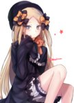 1girl bare_legs black_bow black_dress blonde_hair blue_eyes blush bow character_request closed_mouth dress eyebrows_visible_through_hair fate/grand_order fate_(series) feet_out_of_frame gothic_lolita hair_bow hands_in_sleeves hat highres lolita_fashion long_hair long_sleeves looking_at_viewer orange_bow puffy_shorts shorts simple_background sitting solo star stuffed_animal stuffed_toy tanaji teddy_bear too_many_bows very_long_hair white_background