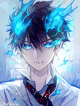 1boy ao_no_exorcist black_hair blouse blue_eyes blue_fire fire flame frown glowing glowing_eyes looking_at_viewer male_focus matsunaka_hiro necktie okumura_rin pointy_ears solo water wet