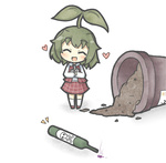 1girl ^_^ bad_id bad_pixiv_id blush chibi closed_eyes commentary green_hair happy kazami_yuuka leaf long_sleeves looking_at_viewer minigirl plant pot short_hair skirt skull_and_crossbones smile solo sprout sprout_on_head touhou yuasan