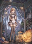1girl absurdres bat bkyuuc black_dress black_legwear blonde_hair blush breasts broom brown_footwear candy clock commentary_request dress eyebrows_visible_through_hair food from_below full_body halloween highres holding lamp large_breasts long_hair looking_at_viewer original outdoors pink_eyes pumpkin smile solo thighhighs twintails wolf