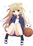 1girl animal animal_ear_fluff animal_ears bangs basketball black_jacket black_legwear black_shorts blue_eyes blush cat cat_ears cat_tail closed_mouth commentary_request eyebrows_visible_through_hair full_body green_eyes hair_ornament hairclip hand_on_own_knee hand_to_own_mouth highres jacket knees_together_feet_apart long_hair long_sleeves looking_at_viewer mafuyu_(chibi21) name_tag open_clothes open_jacket original revision shirt shoes shorts simple_background sitting sleeves_past_wrists socks solo star starry_background tail track_jacket unzipped very_long_hair white_background white_cat white_shirt