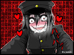 1girl akitsu_maru_(kantai_collection) artist_name black_hair black_hat blush commentary_request creepy drooling heart kantai_collection re_kodachi red_eyes tongue tongue_out translated uniform yandere you_gonna_get_raped