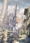 arch building city cityscape cloud k_kanehira original plant road scenery science_fiction sky stairs street tree