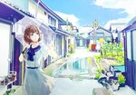 1girl bangs blue_bow blue_sailor_collar blue_sky bow brown_eyes brown_hair bucket closed_mouth cloud commentary_request day door dress eyebrows_visible_through_hair hands_up hiro_chikyuujin holding holding_umbrella house looking_away looking_to_the_side original outdoors puddle railroad_crossing sailor_collar sailor_dress short_sleeves sky solo transparent transparent_umbrella umbrella water white_dress