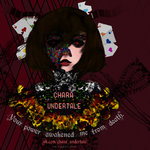 absurdres alice:_madness_returns american_mcgee's_alice androgynous artist_name bone card chara_(undertale) character_name commentary crossover english_commentary english_text eyes flower heart heart_in_eye highres looking_at_viewer mosaic ranunculus red_background red_eyes short_hair skeletal_arm sketch soggates-nyan_(amurka-chan) spoilers symbol_in_eye text_focus undertale watermark web_address