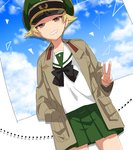1girl black_bow black_neckwear blonde_hair blouse blue_sky bow bowtie broken_window brown_eyes brown_jacket cloud cloudy_sky commentary day dutch_angle erwin_(girls_und_panzer) girls_und_panzer glass goggles goggles_on_headwear green_headwear green_skirt grin half-closed_eyes hand_in_pocket hat jacket long_sleeves looking_at_viewer military_hat military_jacket miniskirt ooarai_school_uniform open_clothes open_jacket peaked_cap pleated_skirt pointy_hair school_uniform serafuku shadow shinaso_(sachi-machi) short_hair skirt sky smile solo standing v-shaped_eyebrows white_blouse