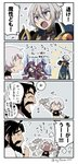 1girl 2boys 4koma :> :d ? ^_^ afterimage asaya_minoru bandaged_arm bandages bangs bare_shoulders beard black_gloves black_hair black_shirt blue_cape cape closed_eyes comic edward_teach_(fate/grand_order) eyebrows_visible_through_hair facial_hair facial_scar fate/grand_order fate_(series) fingerless_gloves flailing flying_sweatdrops gao_changgong_(fate) gloves grey_hair hair_between_eyes holding holding_mask horns jack_the_ripper_(fate/apocrypha) mask mask_removed multiple_boys mustache navel open_mouth petals profile purple_eyes scar scar_across_eye scar_on_cheek shirt silver_hair single_glove sleeveless sleeveless_shirt smile sparkle translation_request twitter_username v-shaped_eyebrows white_shirt