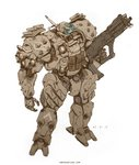 2015 assault_rifle bullpup commentary dated deviantart_username emerson_tung energy_gun english_commentary gun mecha original pouch power_armor radio_antenna rifle science_fiction signature simple_background sketch solo weapon