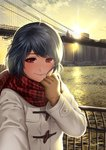 1girl bangs blue_hair blush bridge brooklyn_bridge brown_gloves building cityscape coat domestic_na_kanojo duffel_coat fingers gloves hands holding_scarf looking_at_viewer new_york plaid plaid_scarf reaching_out red_eyes sasuga_kei scarf scenery self_shot short_hair skyscraper smile solo sun tachibana_rui white_coat