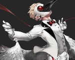 1boy beak blonde_hair caligula_(game) fake_wings formal grey_background haruno14 looking_up male_focus outstretched_arms plague_doctor_mask solo spread_arms stork_(caligula) suit vest wings