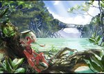 1boy bare_arms bare_legs bare_shoulders barefoot bayashiko blue_sky brown_eyes cloud commentary_request eating fish grey_hair hair_between_eyes horizon jewelry kappa looking_at_viewer male_focus mangrove nature necklace ocean original ponytail river scenery signature sitting sky solo tree