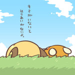 cafe_(chuu_no_ouchi) cloud day dedenne from_behind gen_6_pokemon lowres lying no_humans on_back pokemon pokemon_(creature) raichu translation_request